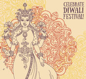 Groetkaart voor diwalifestival met Indische godin Lakshmi en koninklijk ornament Stock Foto's