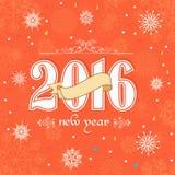 Groetkaart voor Gelukkig Nieuwjaar 2016 Royalty-vrije Stock Afbeelding