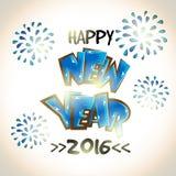 Groetkaart voor Gelukkig Nieuwjaar 2016 Stock Foto's