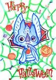 Groetkaart voor Halloween met een knuppel, snoepjes, brandende oranje pompoenen en een groen Web van Gelukkig Halloween royalty-vrije illustratie