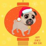 Groetkaart voor hinese Nieuw jaar Ð ¡ met leuke pug stock illustratie