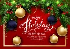 Groetkaart voor Kaarten van de de Winter de Gelukkige Vakantie met Sparrenbrunch en 3D Baloons Royalty-vrije Stock Afbeelding