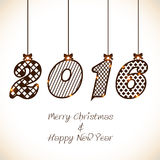 Groetkaart voor Kerstmis en Nieuwjaar 2016 Stock Foto