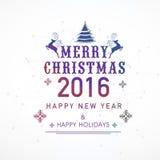 Groetkaart voor Kerstmis en Nieuwjaar 2016 wordt geplaatst die Royalty-vrije Stock Afbeelding