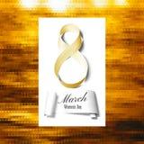 Groetkaart voor 8 Maart met banner en symbool van gouden lint De dag van internationale vrouwen Veelhoekig vectorontwerp Royalty-vrije Stock Afbeelding