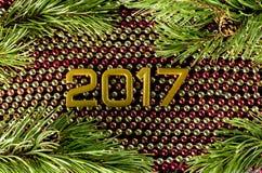 Groetkaart voor nieuwe 2017 Stock Fotografie