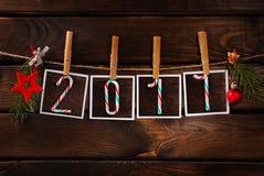 Groetkaart voor Nieuwjaar 2017 Stock Afbeeldingen