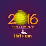 Groetkaart voor Nieuwjaar 2016 en Kerstmisviering Stock Afbeelding