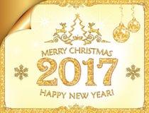 Groetkaart voor Nieuwjaar 2017! met het verpakken van hoek Royalty-vrije Stock Afbeelding