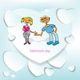 Groetkaart voor Valentijnskaartendag met een schets Stock Afbeeldingen