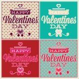 Groetkaart voor Valentijnskaartendag. Reeks en naadloos Royalty-vrije Stock Afbeelding