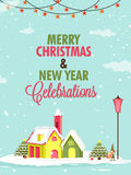 Groetkaart voor Vrolijk Kerstmis en Nieuwjaar Royalty-vrije Stock Foto