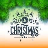 Groetkaart voor Vrolijke Kerstmisviering Stock Foto's