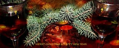 Groetkaart, Vrolijke Kerstmis en Gelukkig Nieuwjaar! Stock Afbeelding