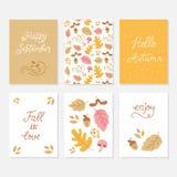 Groetkaarten met de herfstelementen stock illustratie