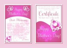 Groetkaarten met roze bloemenornament Stock Afbeelding