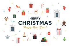 Groetkerstmis en Gelukkige Nieuwjaarskaart met vector illustratie