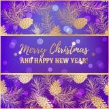 Groetkerstmis en Nieuwjaarskaartontwerp met naaldboom en denneappels Royalty-vrije Stock Afbeeldingen