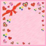 Groetprentbriefkaar op roze stock illustratie