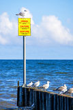 Groin in the Baltic Sea with warning table Royalty Free Stock Images