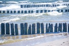 Groins in the Baltic Sea Royalty Free Stock Photography