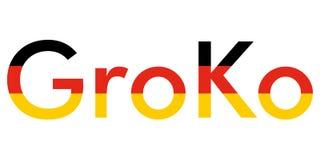 Groko (Grand Coalition). GroKo, short for Grosse Koalition in German (meaning Grand Coalition), with flag stock illustration
