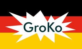 Groko (Grand Coalition). GroKo, short for Grosse Koalition in German (meaning Grand Coalition), with flag Stock Photography
