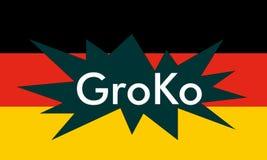 Groko (Grand Coalition). GroKo, short for Grosse Koalition in German (meaning Grand Coalition), with flag Stock Image