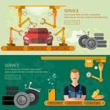 Gromadzić samochodu fabryczny samochód naprawia sztandaru konwejeru pasek ilustracji