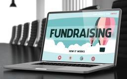 Gromadzić fundusze na laptopie w pokoju konferencyjnym 3d Royalty Ilustracja
