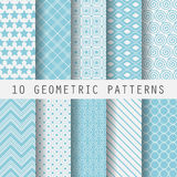 Grometric blue patterns. 10 Vintage different vector  patterns. Endless texture for wallpaper, fill, web page background, surface texture. Set of monochrome Royalty Free Stock Photography