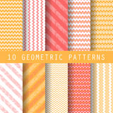 Grometric patterns. 10 different retro patterns. Endless texture for wallpaper, fill, web page background, surface texture. Set of colorful geometric ornament vector illustration