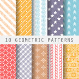 Grometric patterns. 10 different retro patterns. Endless texture for wallpaper, fill, web page background, surface texture. Set of colorful geometric ornament Royalty Free Illustration