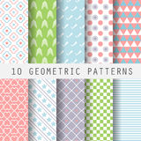 Grometric patterns. 10 different sweet pastel geometric patterns. Endless texture for wallpaper, fill, web page background, surface texture. Set of colorful stock illustration
