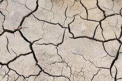 Grond gebarsten achtergrond Land in droog seizoen royalty-vrije stock afbeeldingen