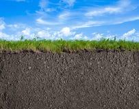Grond, gras en hemelaardachtergrond Royalty-vrije Stock Afbeelding
