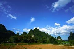 Grond op padieveld na het oogsten van seizoen met berg en blauwe hemel in Vietnam Royalty-vrije Stock Afbeeldingen