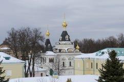 Grondgebied van de winterachtergrond van het gebied van Dmitrov het Kremlin Moskou royalty-vrije stock fotografie