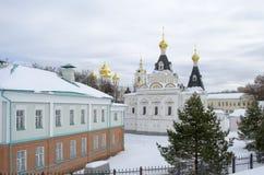 Grondgebied van de winterachtergrond van het gebied van Dmitrov het Kremlin Moskou royalty-vrije stock afbeelding