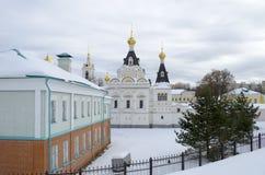 Grondgebied van de winterachtergrond van het gebied van Dmitrov het Kremlin Moskou stock foto's