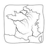 Grondgebied van het pictogram van Frankrijk in overzichtsstijl op witte achtergrond wordt geïsoleerd die Van de het symboolvoorra Stock Foto's