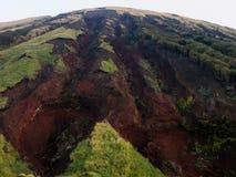 Grondverschuivingen binnen de vulkanische caldera van Aso na 2016 Kumamoto-aardbevingen royalty-vrije stock afbeeldingen