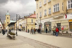 Grondwet van 3 Mei straat in Rzeszow polen Stock Afbeeldingen