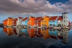 Groninga, Holanda, el 27 de noviembre de 2016: Reitdiephaven Foto de archivo