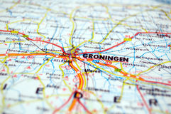 Groningen. Road map of Groningen, Netherlands Royalty Free Stock Photography