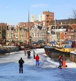 Skating in the harbor Noorderhaven.Netherlands Royalty Free Stock Photos