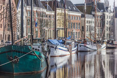 Groningen Hoge der Aa. Old ships and warehouses in the center of Groningen, the Netherlands Royalty Free Stock Images