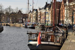 Groningen, the main canal and harbor. The Netherlands Royalty Free Stock Photo