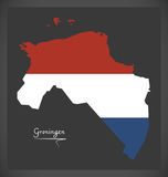 Groningen Netherlands map with Dutch national flag Royalty Free Stock Photography