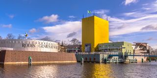 Groningen Museum abstract building postmodern achitecture. GRONINGEN, NETHERLANDS, MARCH 17, 2017: Groningen Museum postmodern achitecture wide angle panorama on royalty free stock photography